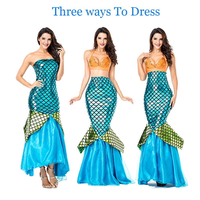 Three Ways To Dress Mermaid Tail Sea Blue Elegant Cosplay Costume Halloween Mermaid Costume for Costume Party , Nightclub or Bar