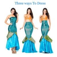 Three Ways To Dress Mermaid Tail Sea Blue Elegant Cosplay Costume Halloween Mermaid Costume for Costume Party , Nightclub or Bar