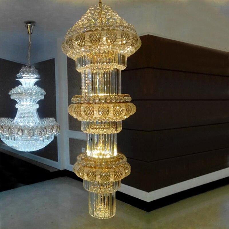 Duplex Haus Boden Kronleuchter Goldene Kristallleuchter Lampe Villa Hohlboden Wohnzimmer Dreh Treppen Lster