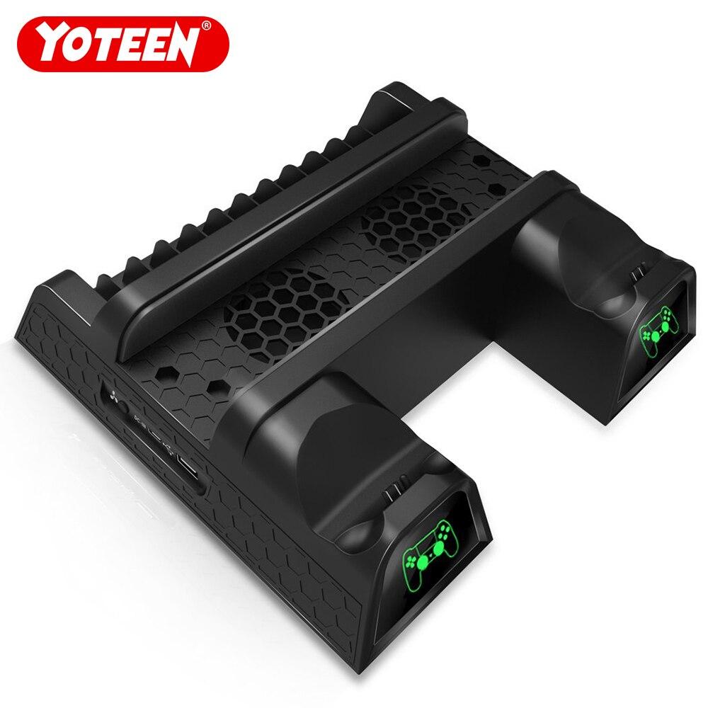 Yoteen Vertical Multifonctionnel Support De Refroidissement pour PS4/PS4 Mince/PS4 Pro Dualshock 4 Station De Recharge avec 12 pièces Disques De Stockage