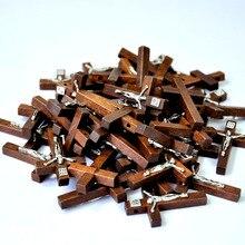 100 шт новые деревянные кросс-подвесные прелести Иисуса, христианские, ислам, католические, верующие, религиозные украшения, ювелирные изделия LR4100
