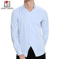 2018 Mens Casual Long Sleeve Shirt Men Oblique Placket Shirts Male Turn Down Collar Shirts Cotton