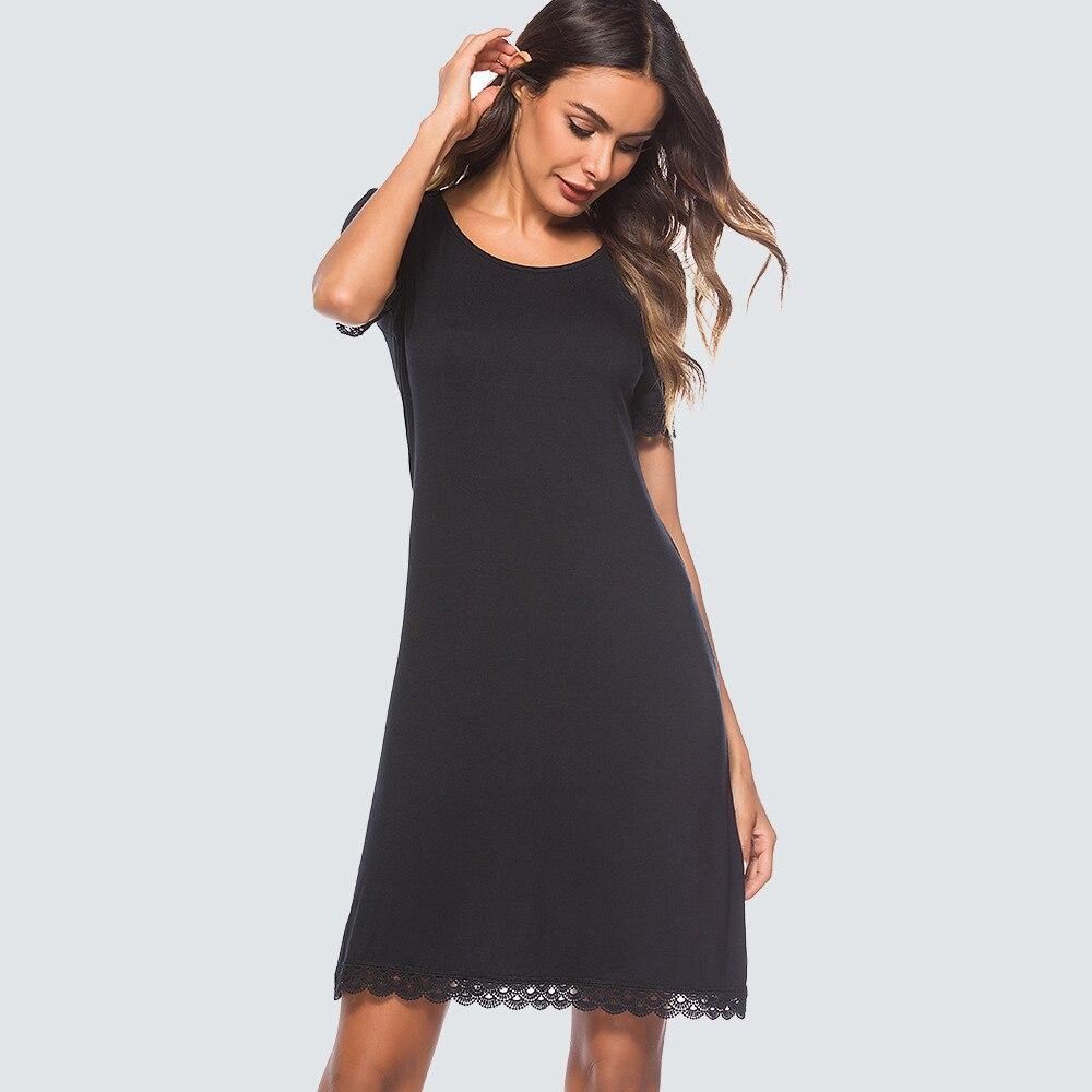 Casual Summer Shift Black Dress Women Elegant Round Neck Loose Straight Dress HT029