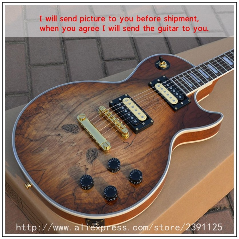 new brand custom shop guitar with spalted maple top high quality musical instruments lp oem. Black Bedroom Furniture Sets. Home Design Ideas