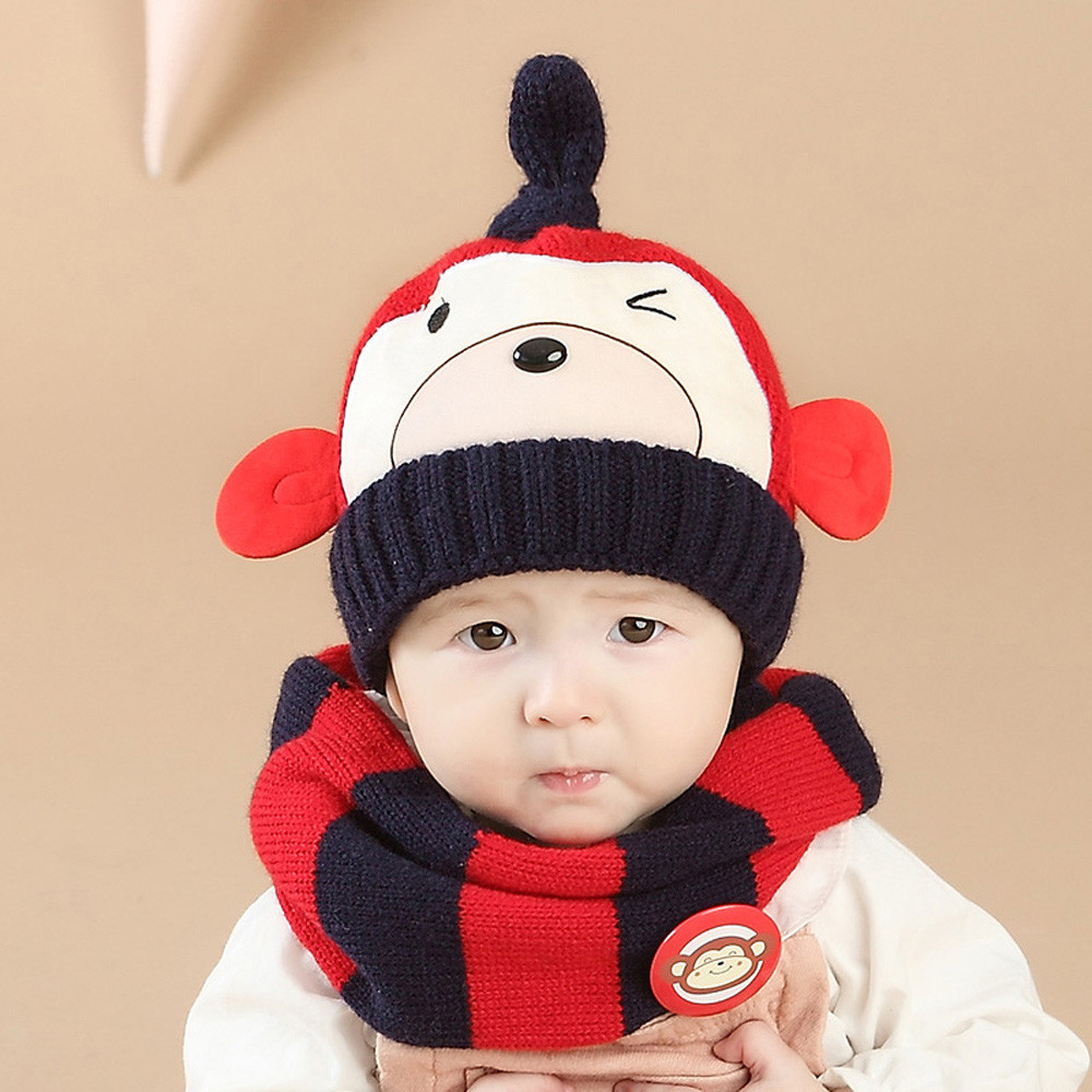 af2d4a7dfaf 2pcs set hat and scarf Baby Boys Girls Kids Cartoon Monkey Child Knitting  Warm Hats Cap scarves for boys-in Hats   Caps from Mother   Kids on  Aliexpress.com ...