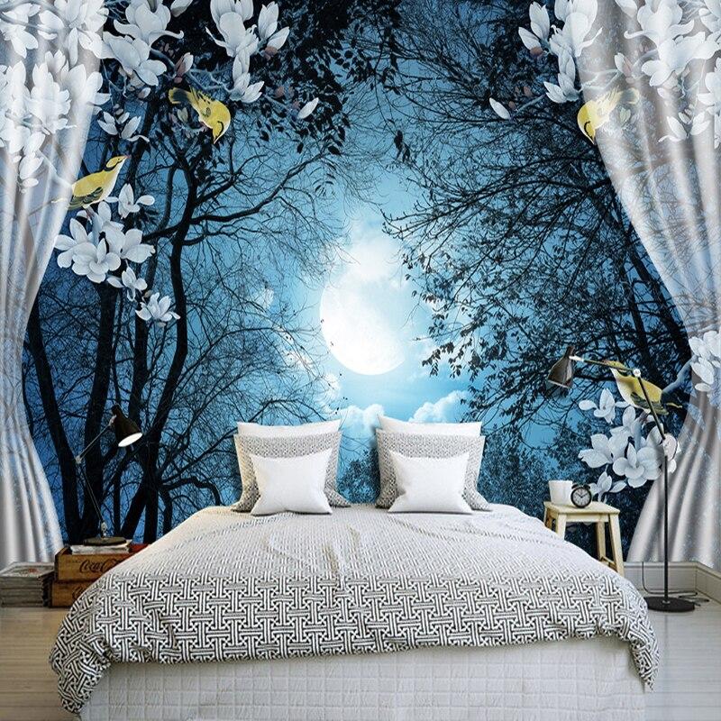 Custom Wall Mural Paper 3D Window Night Forest Moon Flower Bird Nature Landscape Photo Wallpaper Living Room Bedroom Wall Decor world outside the window paper