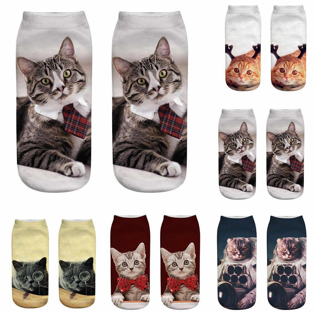 2019 חדש 3D הדפסת גבירותיי קצר גרב אופנה יוניסקס בעלי החיים דפוס גרב חמוד חתול קישוט נקבה מצחיק נמוך קרסול גרביים