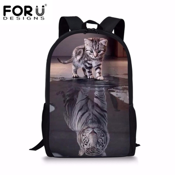 FORUDESIGNS Funny 3D Cat Reflection Tiger Printing Children School Bags Backpack for Girls Boys Large Student Book