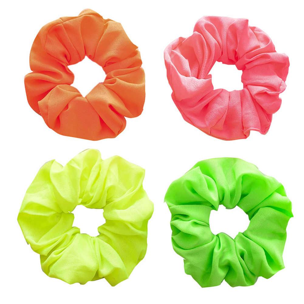 Neon Fluorescent Orange Green YellowScrunchies Velvet Hair Accessory Bright Pink