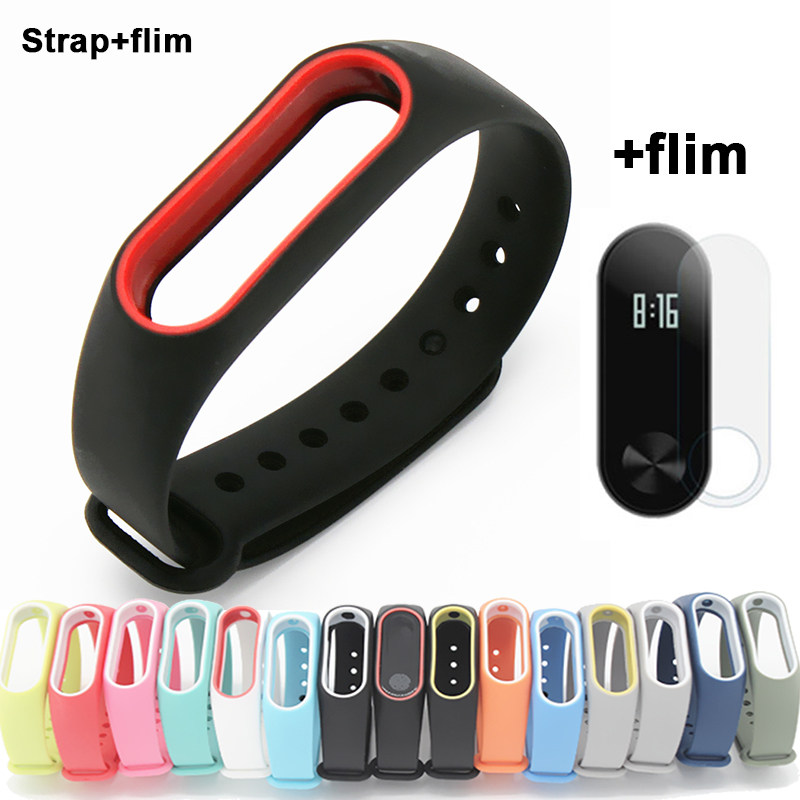 Silicone Xiomi Mi Band 2 Strap With 15 Colors font b Smart b font Wristband font