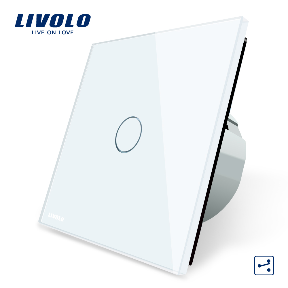 Livolo EU Standard Wall Switch 2 Way Control Switch, Crystal Glass Panel, Wall Light Touch Screen Switch,VL-C701S-1/2/5 smart home touch control wall light switch crystal glass panel switches 220v led switch 1gang 1way eu lamp touch switch