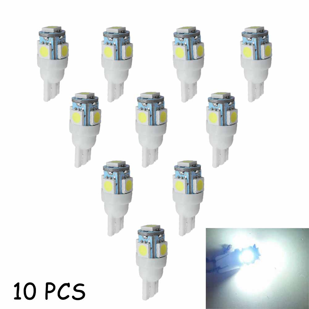 Car Accessories LED T10 W5W 194 5SMD 5050 6000K LED 10Pcs Reading Dome Clearance Interior Light Turn Signal Lamp Auto Automobile