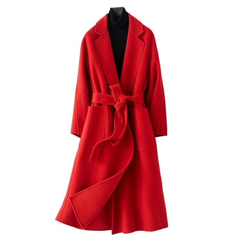 Doppio Lato di Cachemire Giacca Casaco Feminino Cappotto di Lana Autunno Inverno Cappotto Vestiti Delle Donne 2018 Coreano Sottile Elegante Cappotto Lungo ZT715