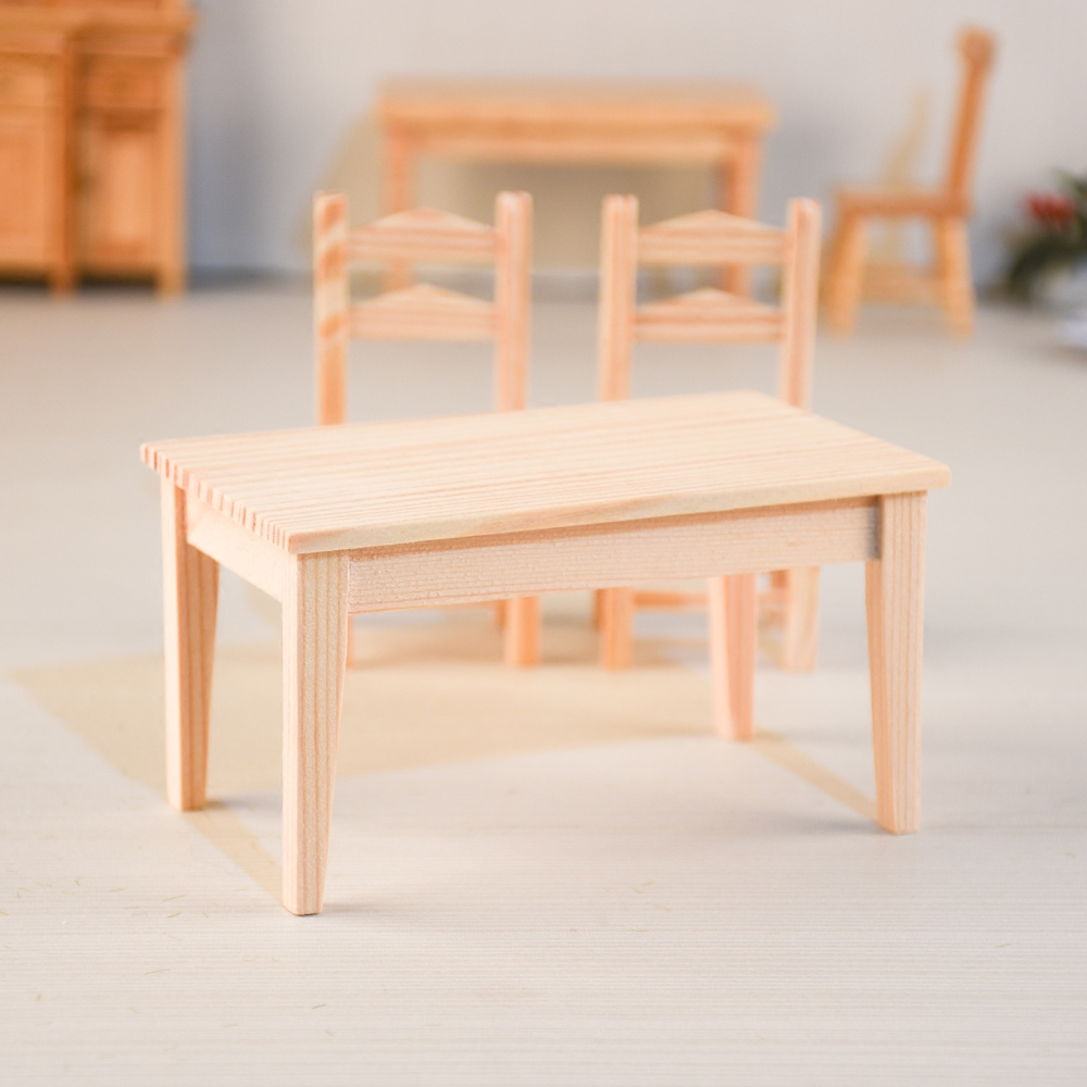 Doub K 1:12 dollhouse furniture toy miniature wooden chair table sets girls children kid kawaii pretend play toys gifts dolls