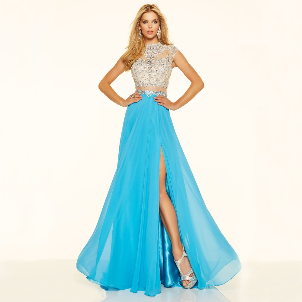 Sparkly Crystal Crop Top Flowing Split A-Line One Piece Evening Dress 1