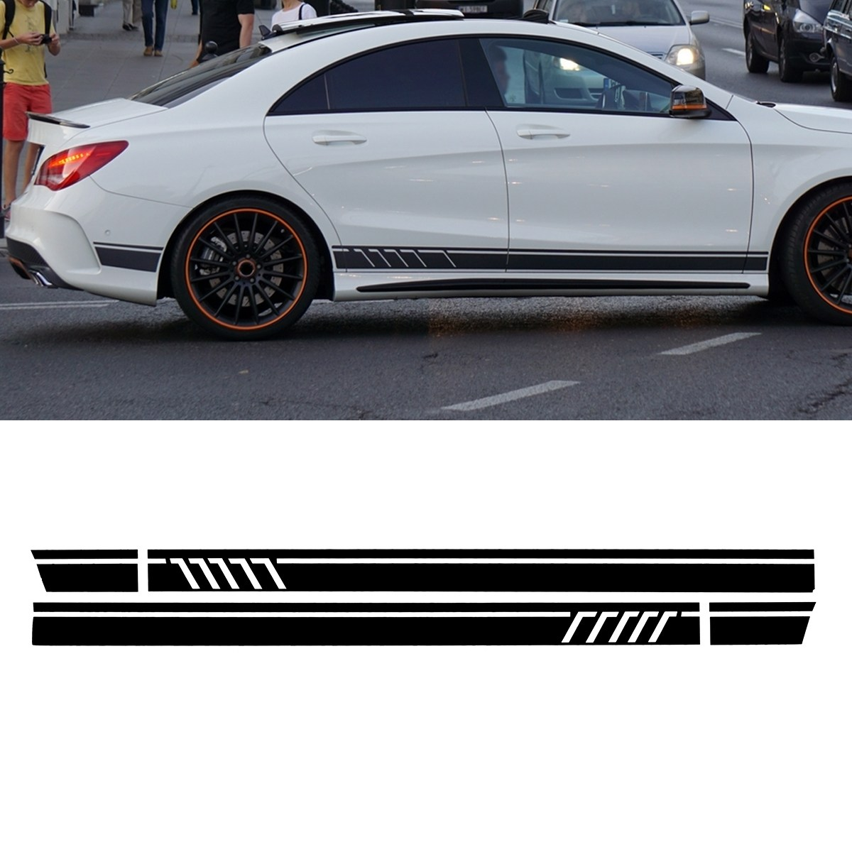 A Pair Sport Side Stripes Decal Sticker for Mercedes -Benz W117 C117 X117 CLA -AMG auto fuel filter 163 477 0201 163 477 0701 for mercedes benz