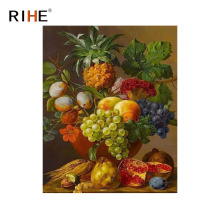 RIHE Fruits Basket Diy Painting By Numbers Grape Oil Pineapple Cuadros Decoracion Acrylic Paint On Canvas Modern Art