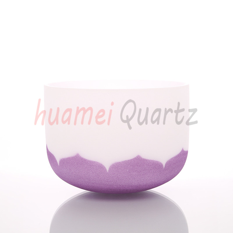 12 inch color lotus with chakra logo frosted quartz crystal singing bowl topfund purple color b crown chakra frosted quartz crystal singing bowl 12 with free mallet and o ring