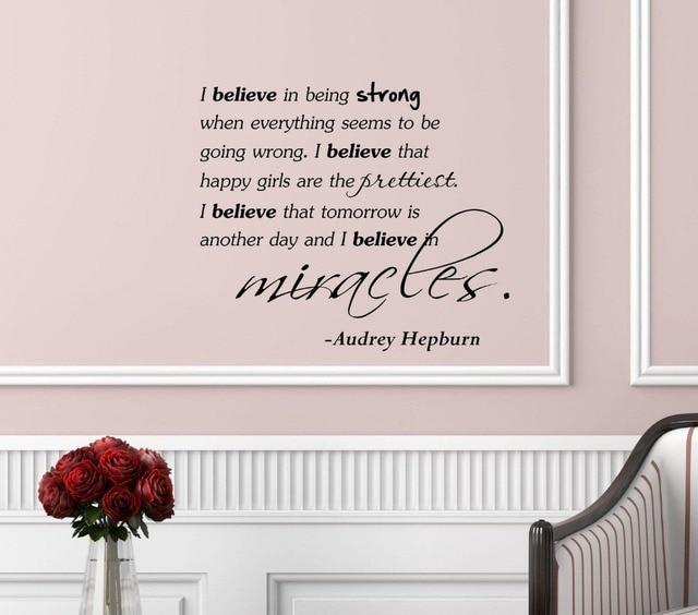 i believe saidaudrey hepburn vinyl wall art inspirational quotes