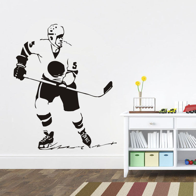 Sport Wall Stickers Ice Hockey Player Removable Vinyl Wall Decal Art Room Decor Living Room Sports Boys Bedroom Decotaion ZA388
