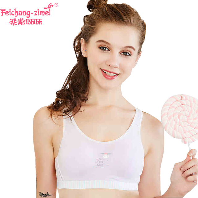 afa3cb72ab9fa Free Shipping Feichangzimei Teen Girls Bra And Panties Cotton Solid A   B  Cup Sport Training Bra 2 Pack -100082-Y