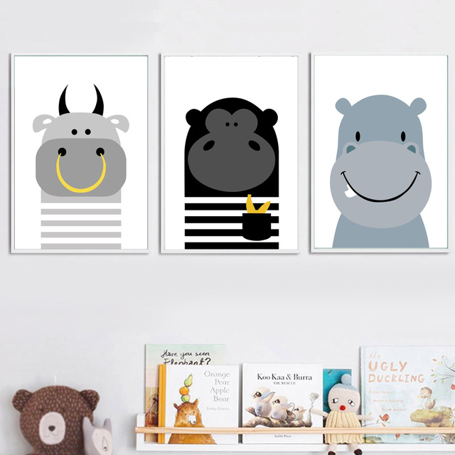 Cow Monkey Hippo Wall Art Canvas Painting Cartoon Animal Nordic ...