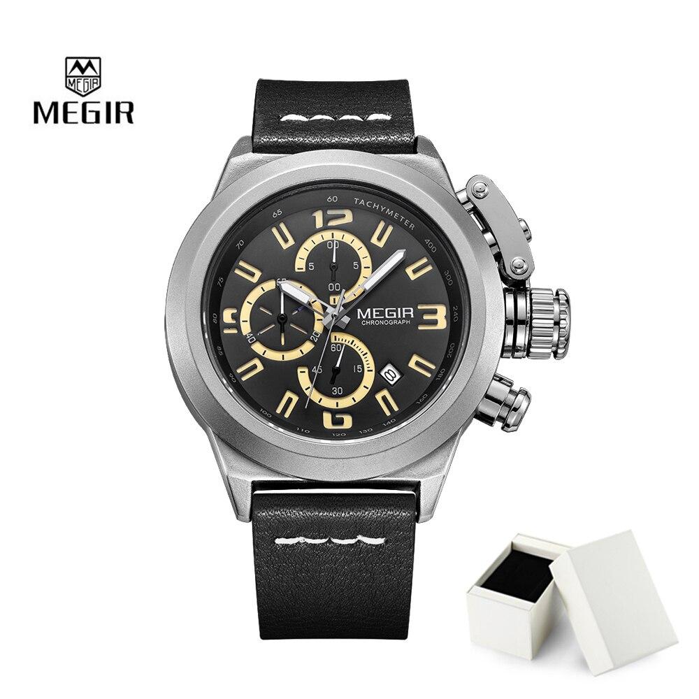 2018 Fashion Sprot Quartz Watch Megir Luxury Brand For Men Big Dial Waterproof Chronograph Relogio Masculino Calendar Men Clock