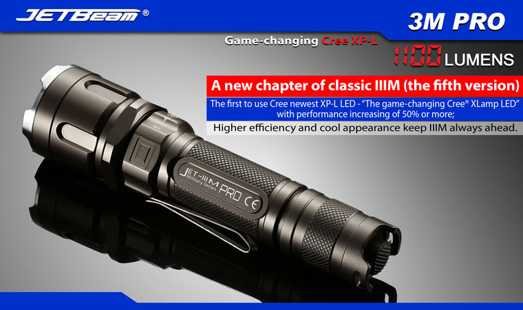 Free Shipping 2014 Original JETBEAM 3M PRO Cree XP-L LED 1100 lumens flashlight daily torch Compatible with 18650 16340 battery