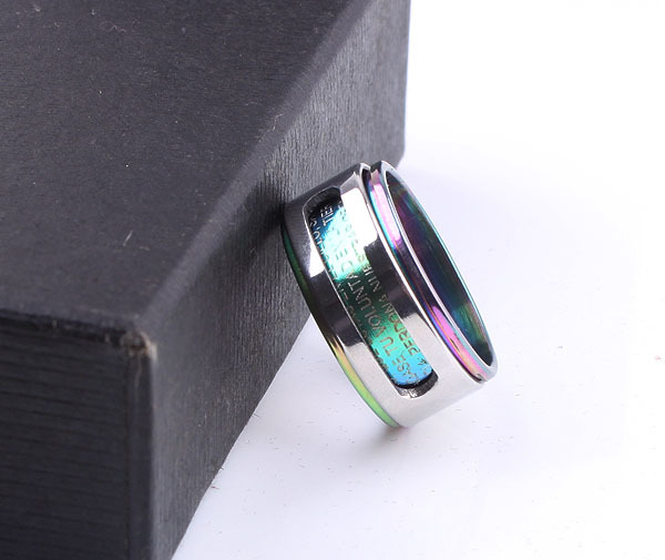 free shipping Blue Double loop Bible 316L Stainless Steel finger ring men jewelry size wholesale