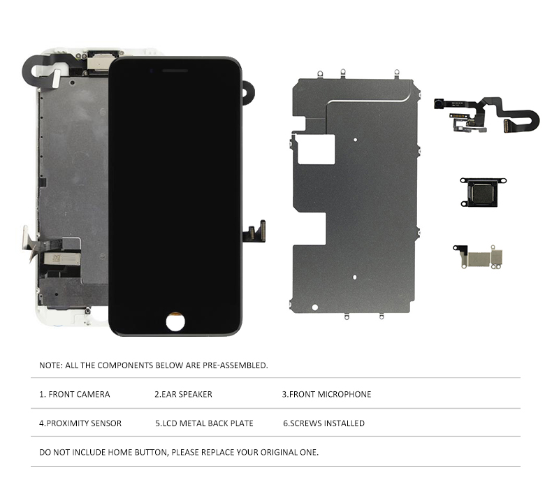 Image 3 - 1PCS Full Set LCD For iPhone 7 8 Plus LCD Display 3D Touch Screen Digitizer Assembly Replacement +Front Camera+Earpiece Speaker-in Mobile Phone LCD Screens from Cellphones & Telecommunications