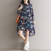 Women Spring Dress Cotton Linen T Shirt Dress Dark Blue Plus Size Beach Dress Floral Print