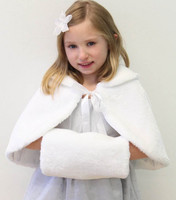Kış Faux kürk Çocuk Cape ile Genç Nedime communion elbise için Ceket Kaban düğün pelerin muff el sıcak