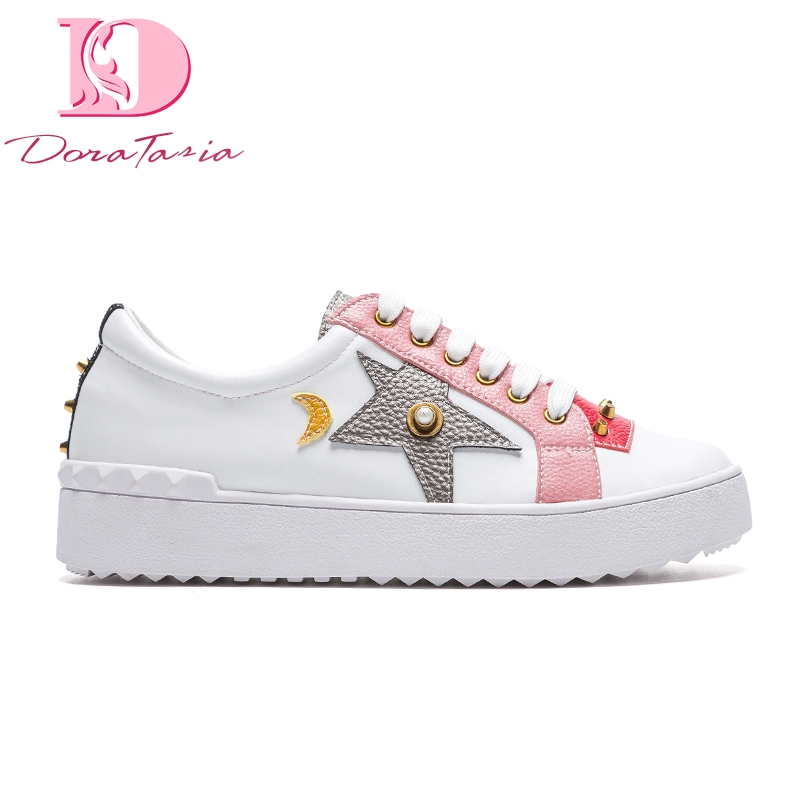 Doratasia 2019 Ins hot style new genuine leather cow leather women Shoes leisure woman white casual shoes sneakers loafers flats-in Women's Flats from Shoes    1