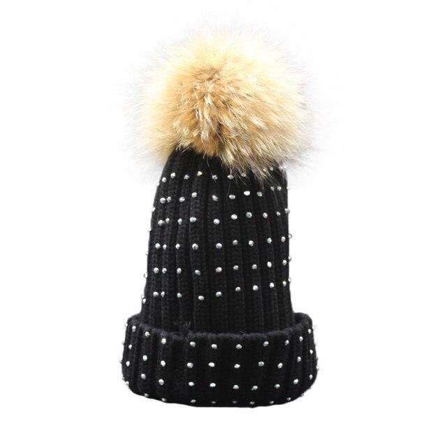Новый Дизайн Женщин Девушки Зима Теплая Шляпа Вязаный Шерстяной Шапки Из Искусственного меха енота Мяч Шапочки 161006