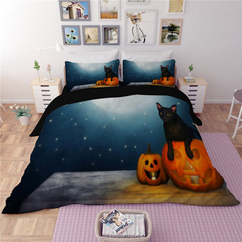 Happy Halloween Pumpkin lantern bedding sets quilt cover duvet cover pillow cases high quality black blue cute bedclothes