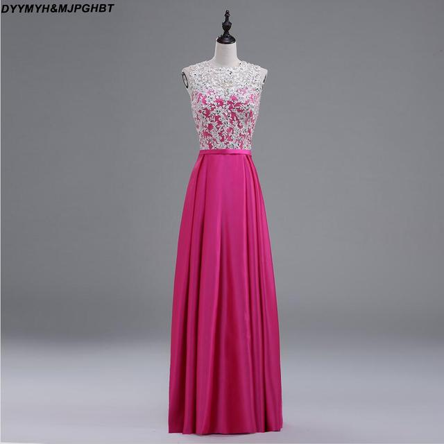 Hot Pink Satin Bridesmaid Dresses Illusion O Neck with Lace Top Cover  Button Back Long Maid of Honor Gowns 04ffd9b17d3d