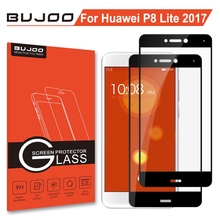 2 Pack 100% Original BUJOO Anti Scratch 2.5D 0.3mm 9H Full Cover Screen Protector Tempered Glass For Huawei P8 Lite 2017 Film