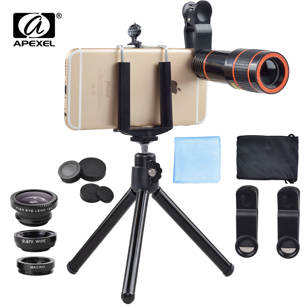 imágenes para APEXEL Teléfono con cámara de lente 12X zoom teleobjetivo Lentes de ojo de pez ojo de pez kit de gran angular Lente macro Para iPhone7 6 S plus Samsung s8 más