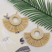 Natural Rattan Earring Raffia Tassel Earrings for Women Handmade Wicker Straw Knit Drop Earing Fashion Jewelry Boucle Doreille