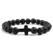 Trendy Black Lava Natural Volcanic Stone Bracelet Charm Cross Beads Strand Bracelets&Bangles for Men Women Prayer Buddha Jewelry