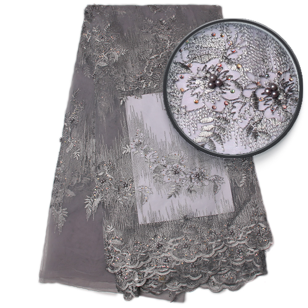 Silver Grey Embroider Lace Dress Fabric African Wedding Lace Materials African Swiss Lace Fabric High Quality