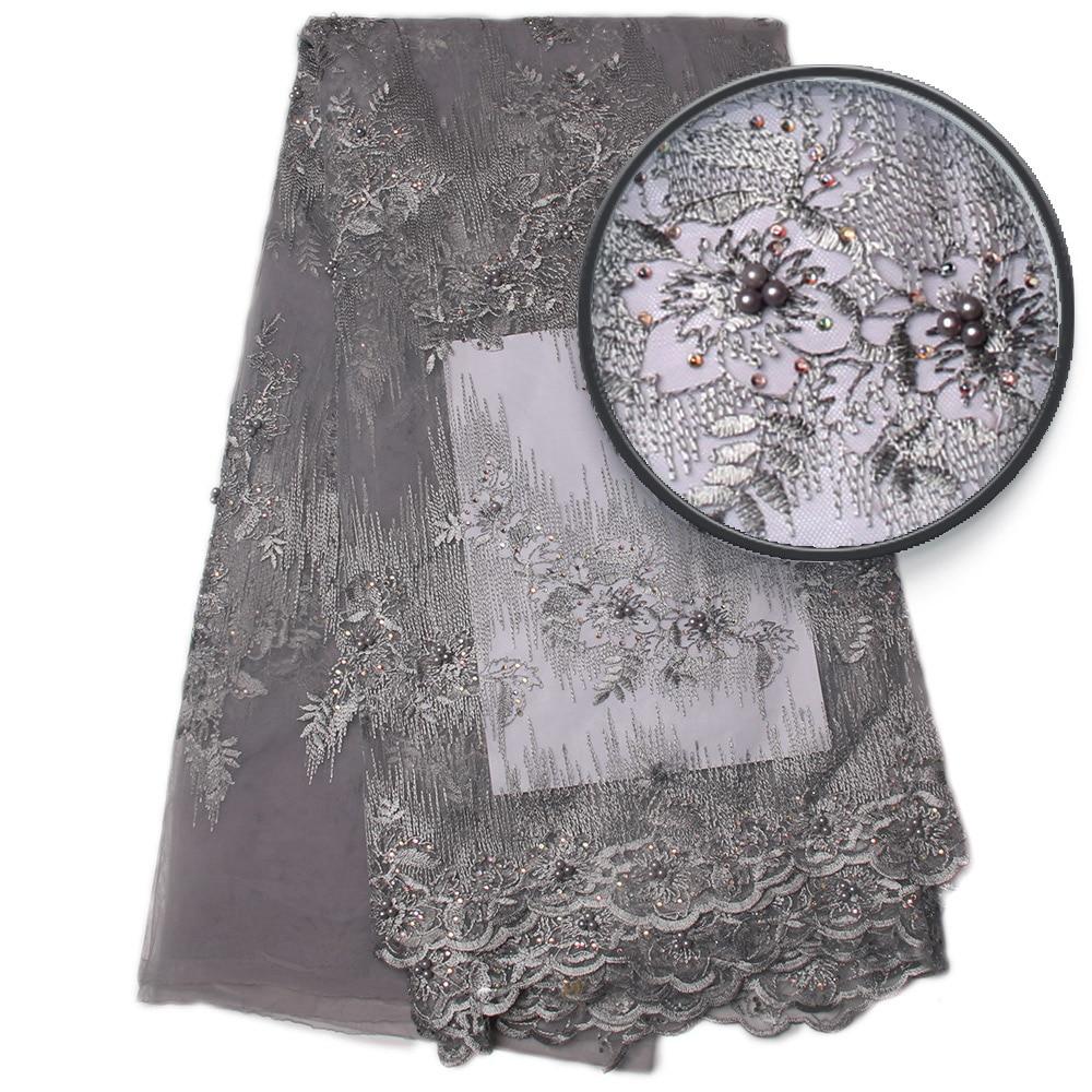 Sudrabaini pelēks izšūšanas mežģīņu kleitas audums, - Māksla, amatniecība un šūšana