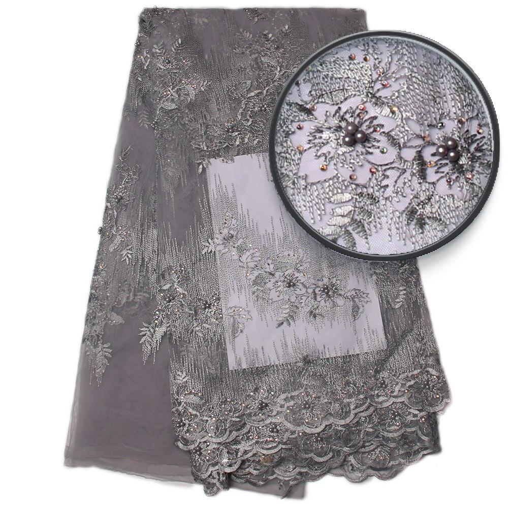 Srebrny szary haftować tkanina z koronki, afryki ślubne koronki materiałów, peruka afrykańska typu swiss Lace tkaniny wysokiej jakości MR830b w Koronka od Dom i ogród na  Grupa 1