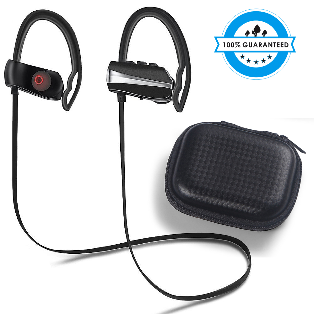 Waterproof Bluetooth Sports Earphone IPX5 wireless sports earphone microphone and volume control for running and gym super sound