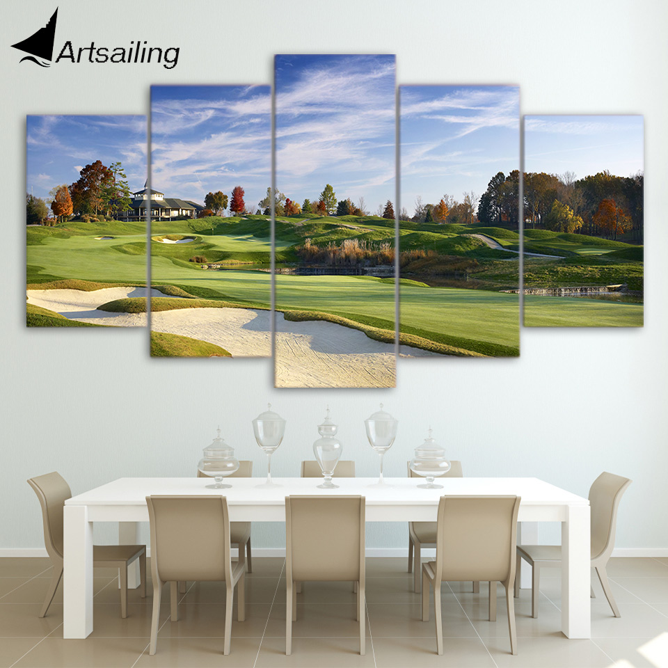Canvas Paintings Printed 5 Pieces Golf Course Wall Art Canvas Pictures For Living Room Bedroom Modular Home Decor CU-1407B