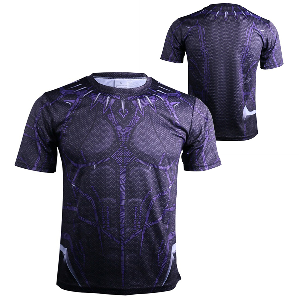 2018 Movie Avengers 3 Infinity War Black Panther T'Challa Cosplay T-Shirts Superhero Mens Polyester O-Neck Tee Shirts Tops