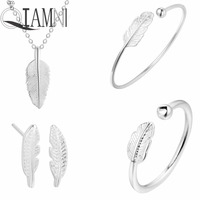 QIAMNI 925 Sterling Silver Leaf Necklace Leaves Bracelet Earring Ring Wedding Costume Jewelry Set Birthday Gift