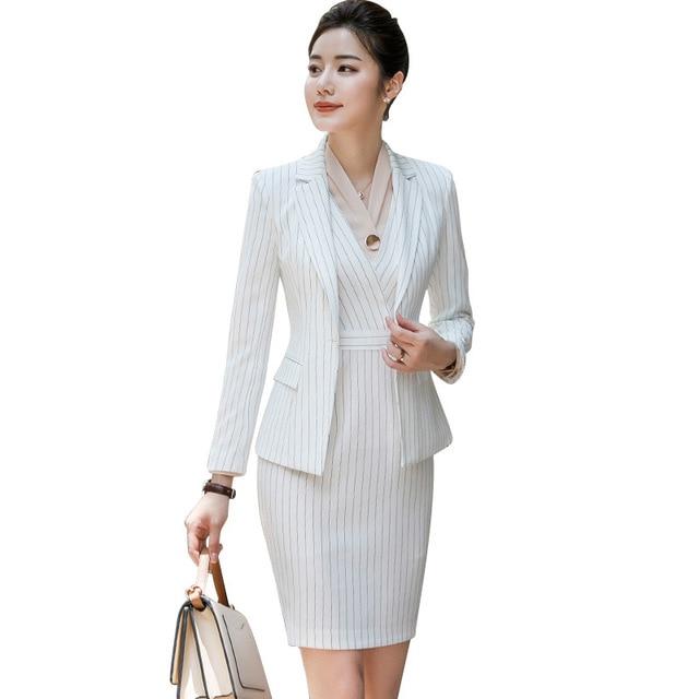 Women Office Wear Dress Suits For Ladies Black White Blue Striped Womens 2 Piece Dresses Set Work Dresses Outfits Plus Size 4XL
