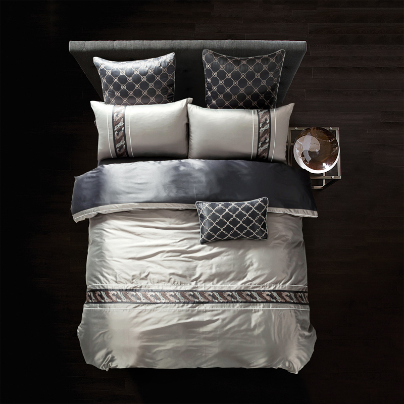 Luxury tencel cotton embroidery bedding sets king queen for Luxury cotton comforter sets