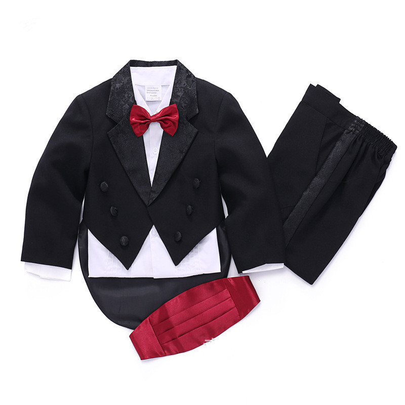 New fashion high quality boy suits 5 pcs coat+shirt+pants+bow tie+girdle formal boys wedding suit boys tuxedo formal sets 2016 new arrival fashion baby boys kids blazers boy suit for weddings prom formal wine red white dress wedding boy suits